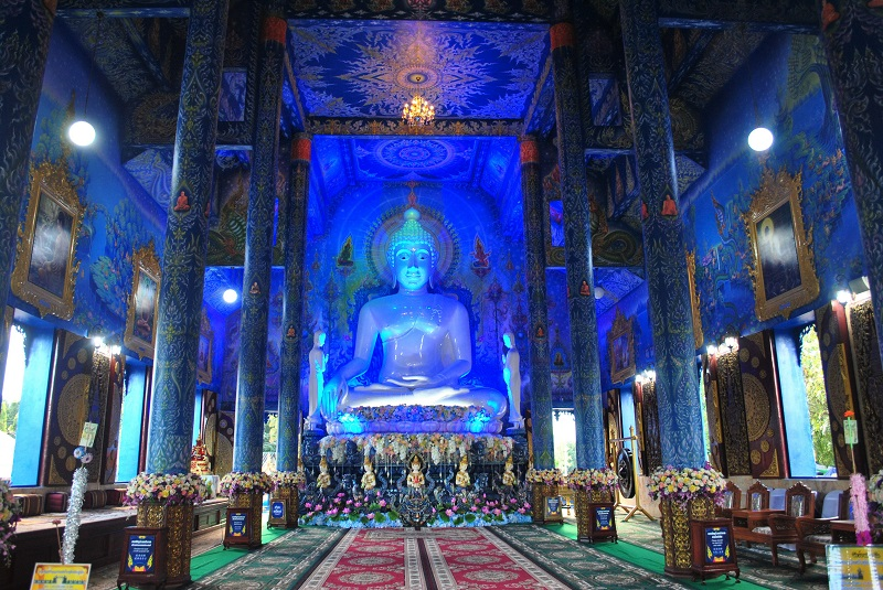 Inside the blue temple