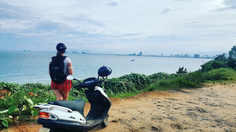 Cazzy on scooter in Danang