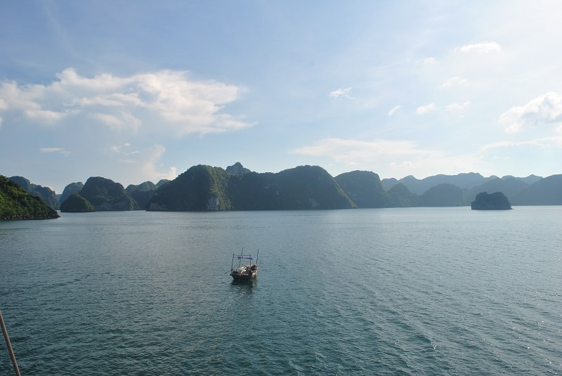 View of Halong Bay from tour boat