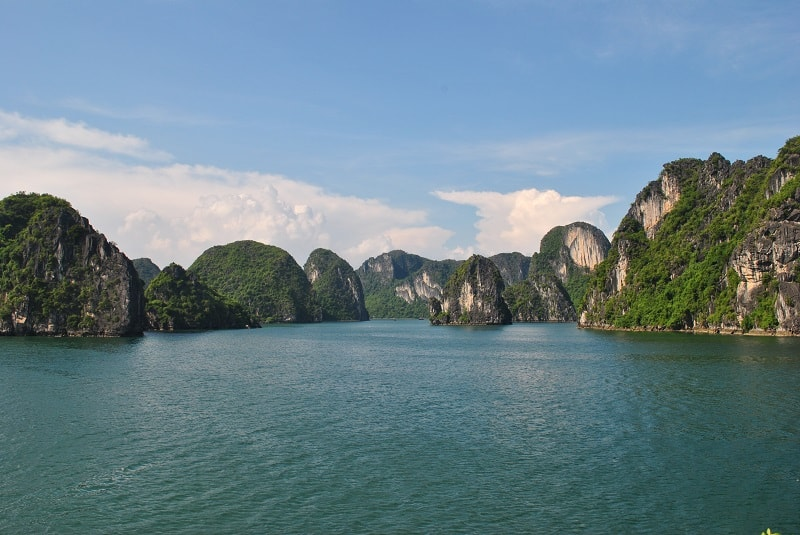 View of mountains in Halong Bay