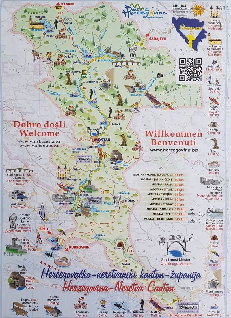 Map of things to do in Mostar