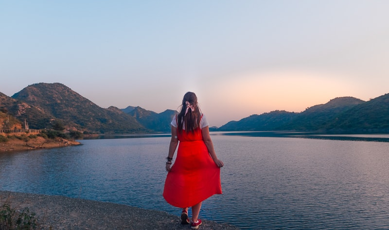 cazzy at lake in udaipur