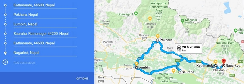 3 week backpacking route Nepal
