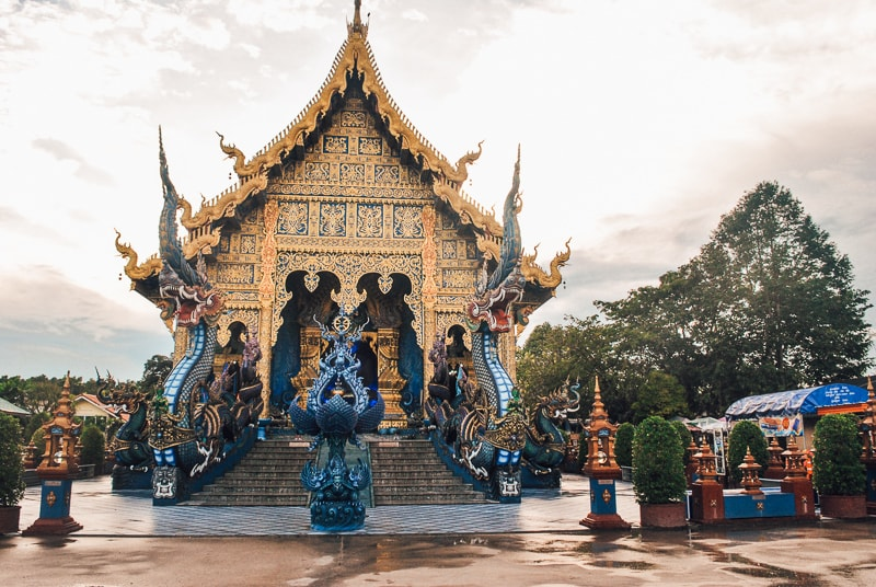 front of the blue temple