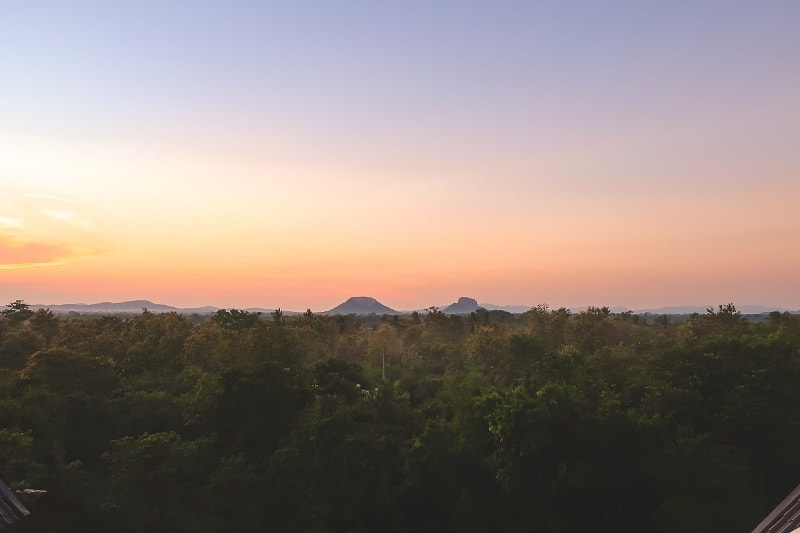 Sunrise over Lion Rock in Sigiriya