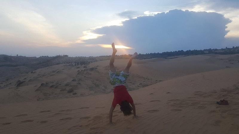sunset at red sand dunes in mui ne