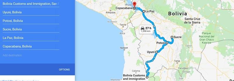 3 week bolivia backpacking route
