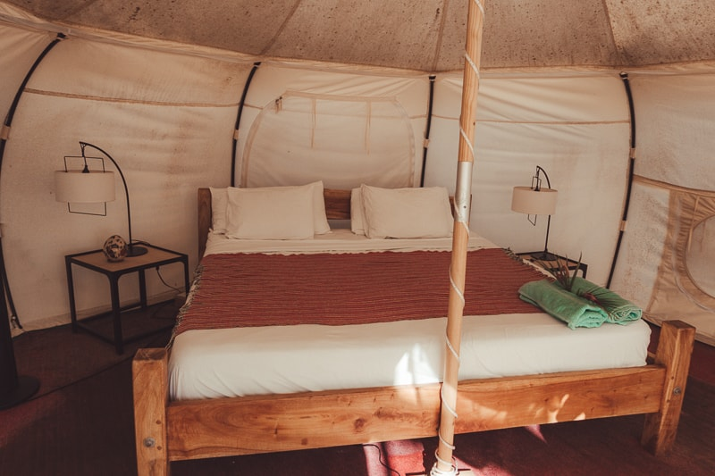 luxury tent at rapture surf camp