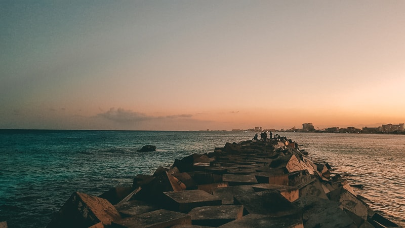 sunset in cancun