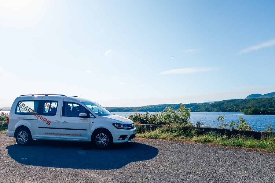 lake with campervan