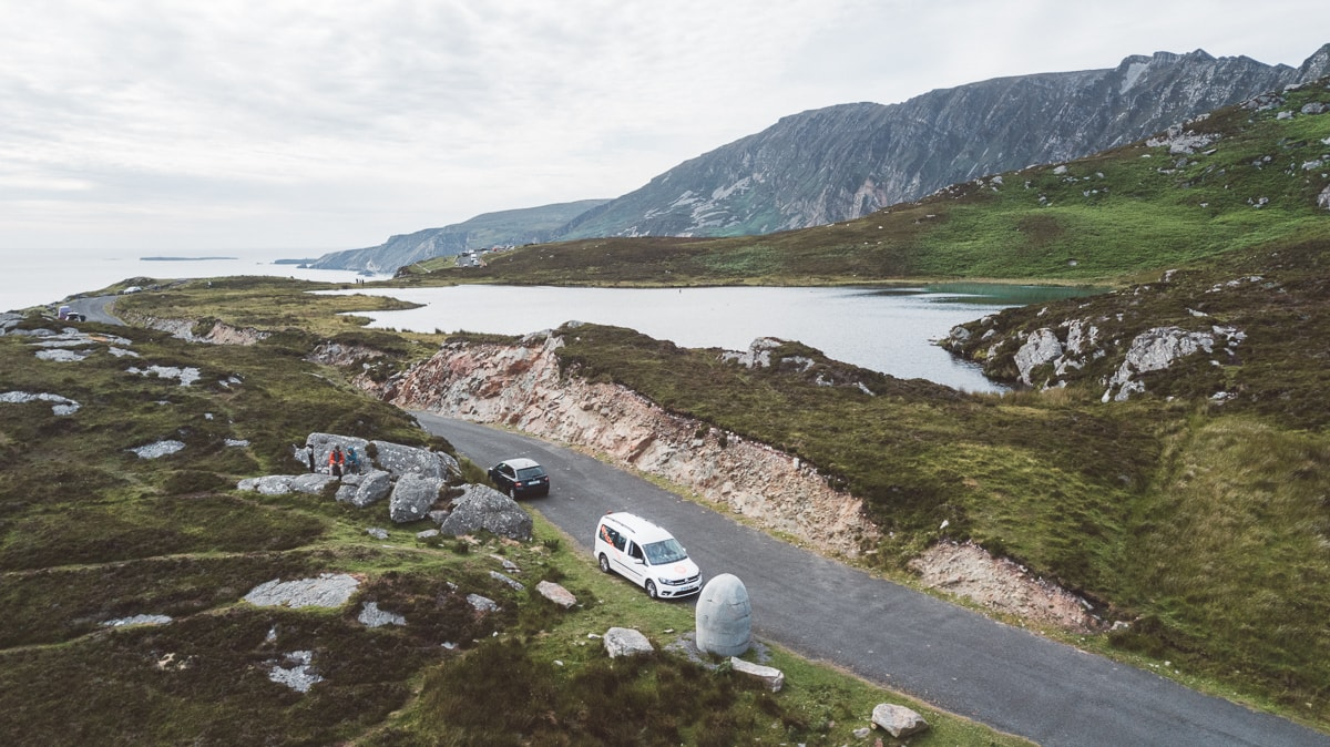 slieve league drone shot with campervan