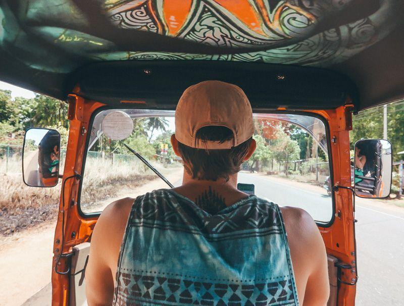 driving tuk tuk in Sri Lanka