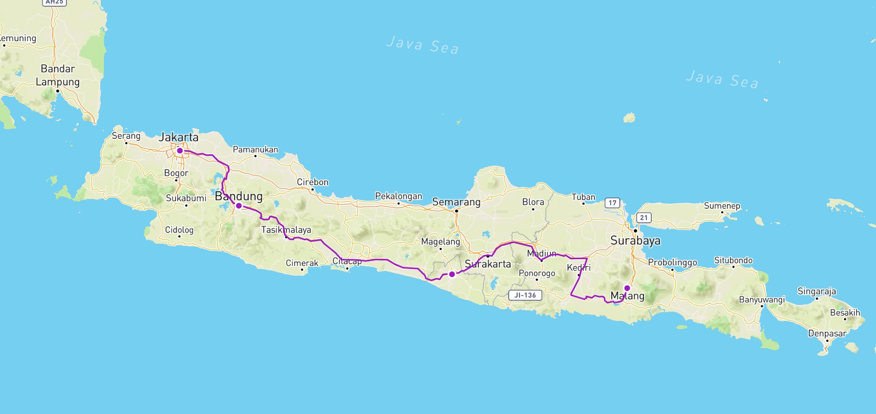 Our 10 Day route in Java