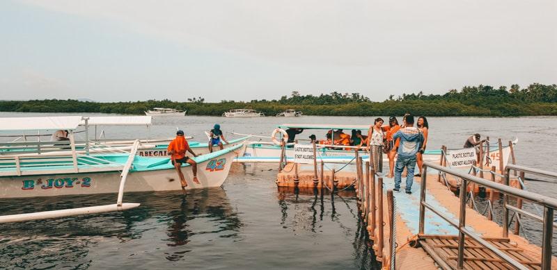 boats at sugba lagoon