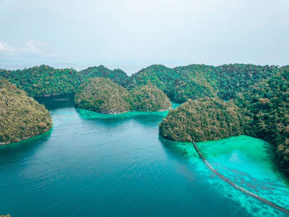 sugba lagoon drone shot