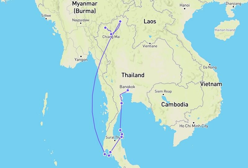our 3 week Thailand route