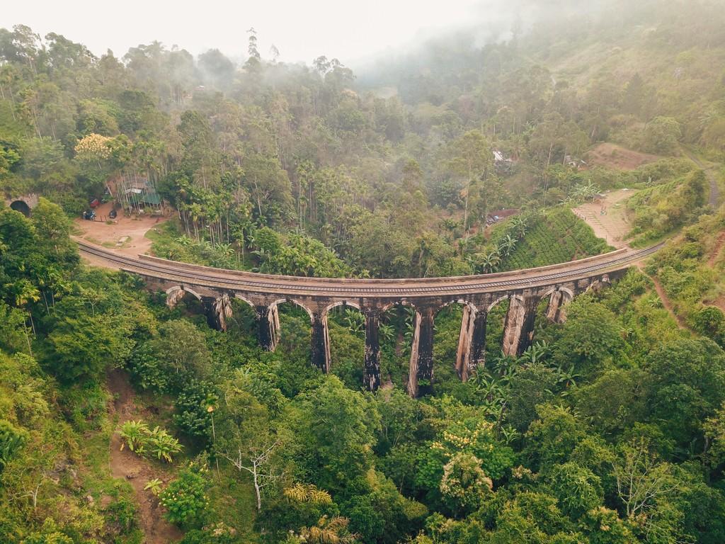 flying a drone at nine arch bridge ella