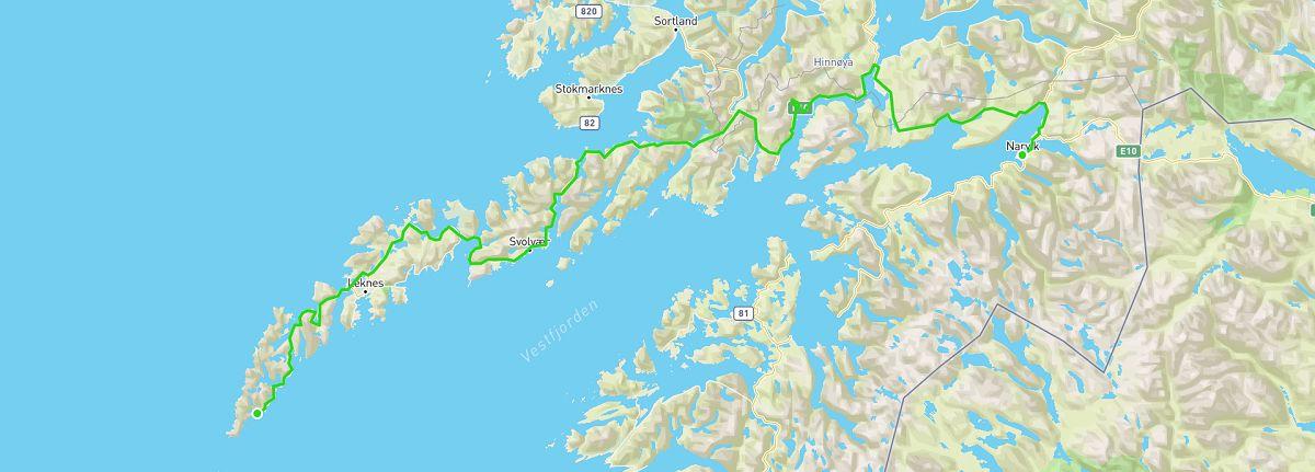 Lofoten Island road trip map
