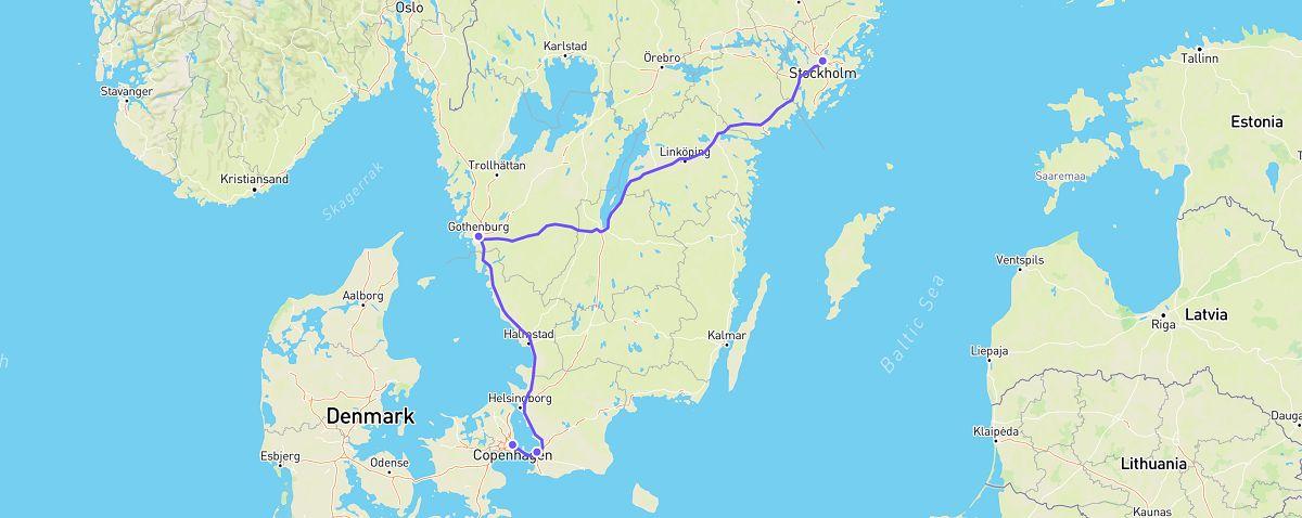 stockholm to copenhagen road trip map