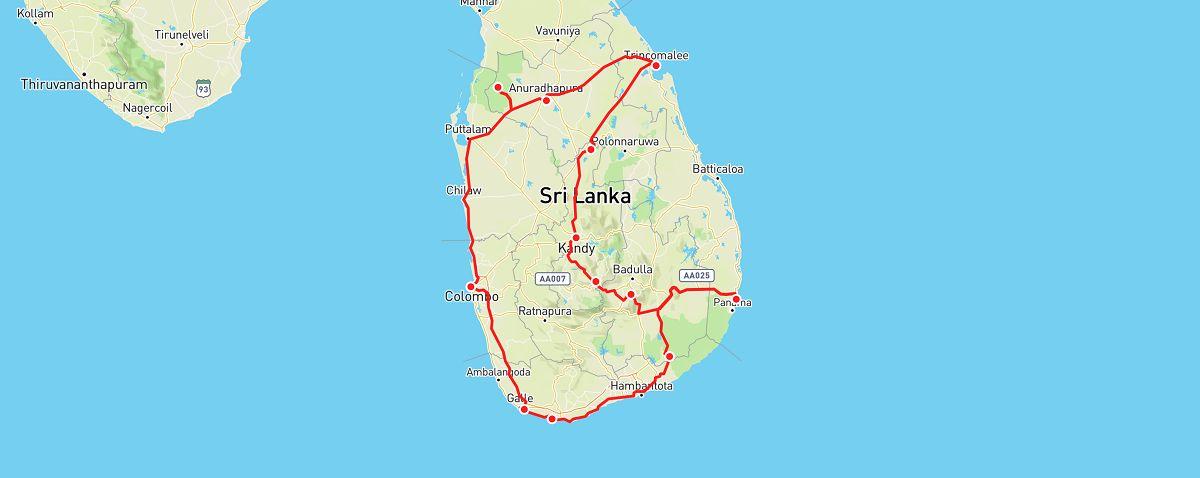 Sri Lanka road trip map