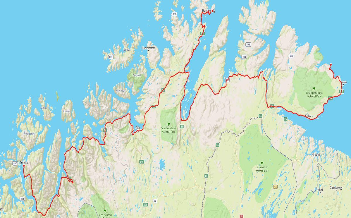 tromso to hamningberg road trip map