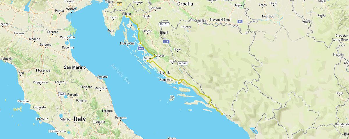 croatia road trip map