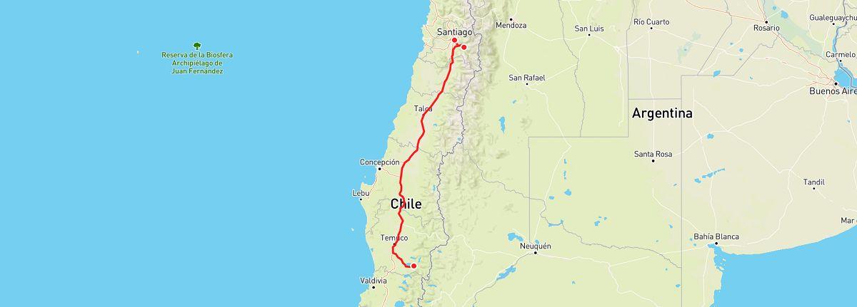 santiago to pucon road trip map