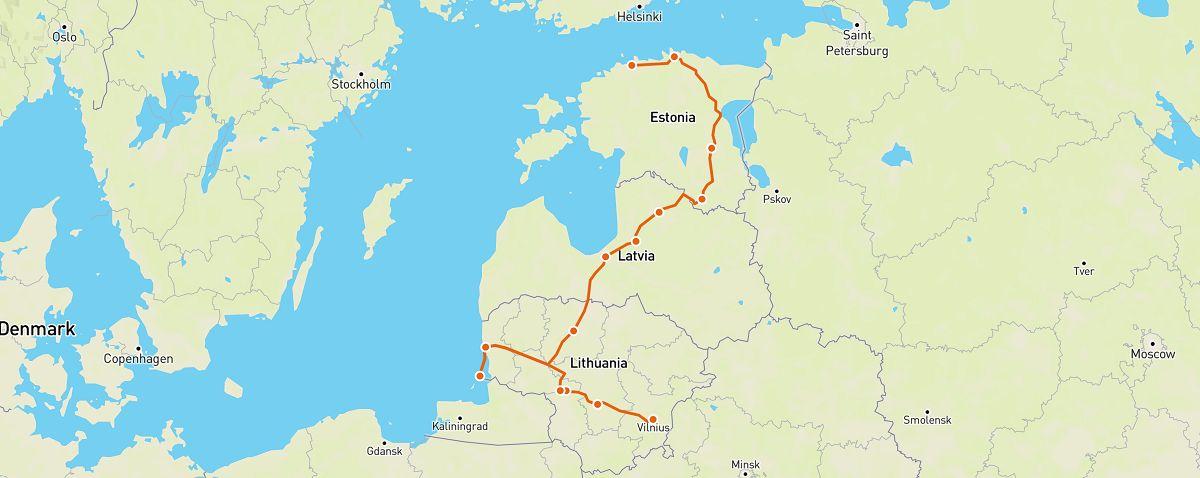 vilnius to tallinn road trip map