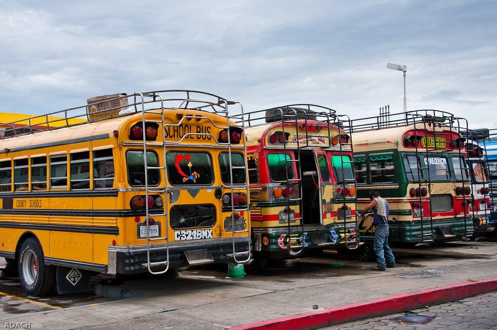 chicken buses in Nicaragua