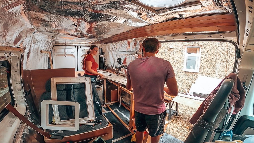 cladding the walls in campervan