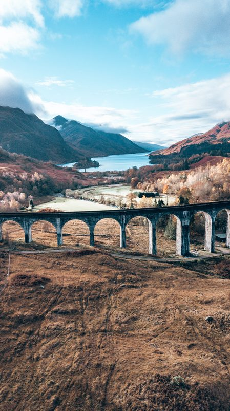 flying a drone at glenfinnan viaduct