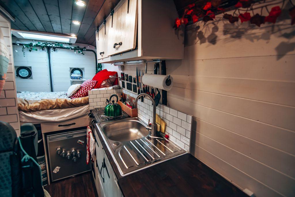 camper finished kitchen