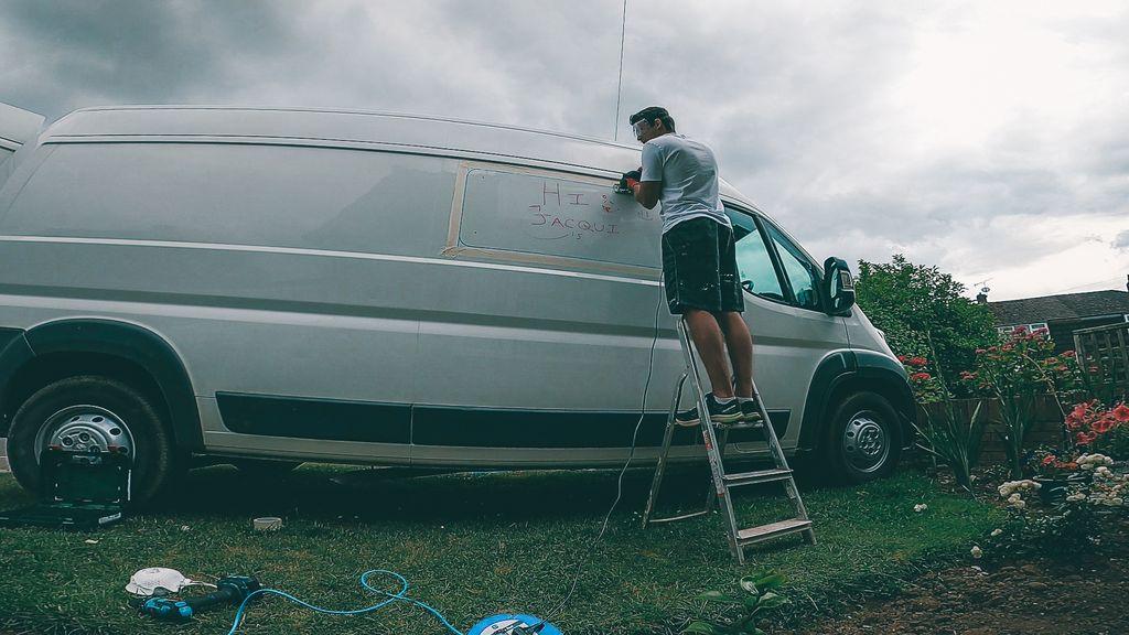 bonded window install on campervan