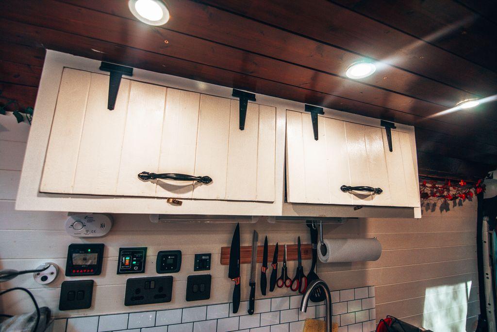 custom campervan wooden cabinets