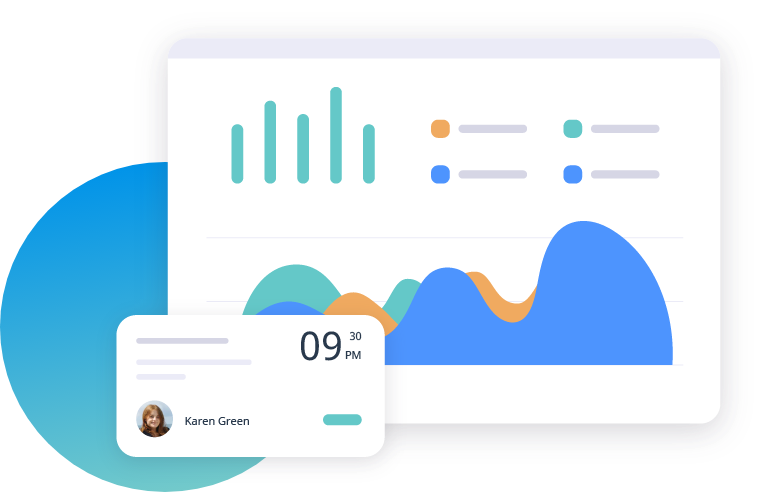 A graphic illustration showing  insights and analytics on the Omnify dashboard.
