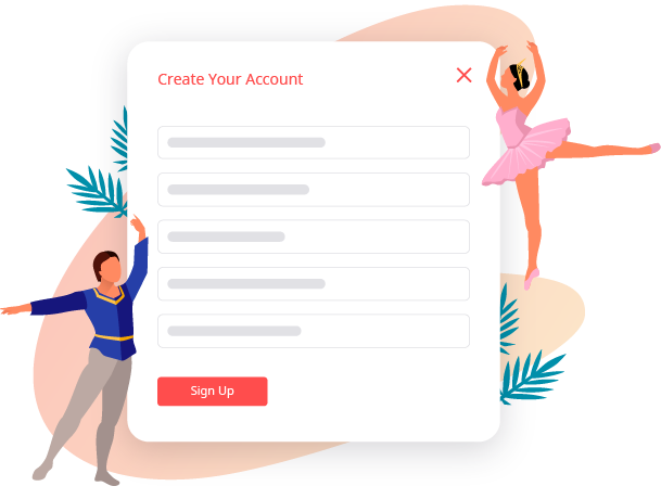 A graphic illustration showing the form to create an account on service store.