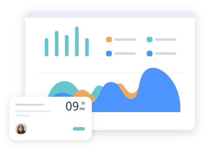 A graphic illustration showing the analytics and insights on the omnify dashboard.