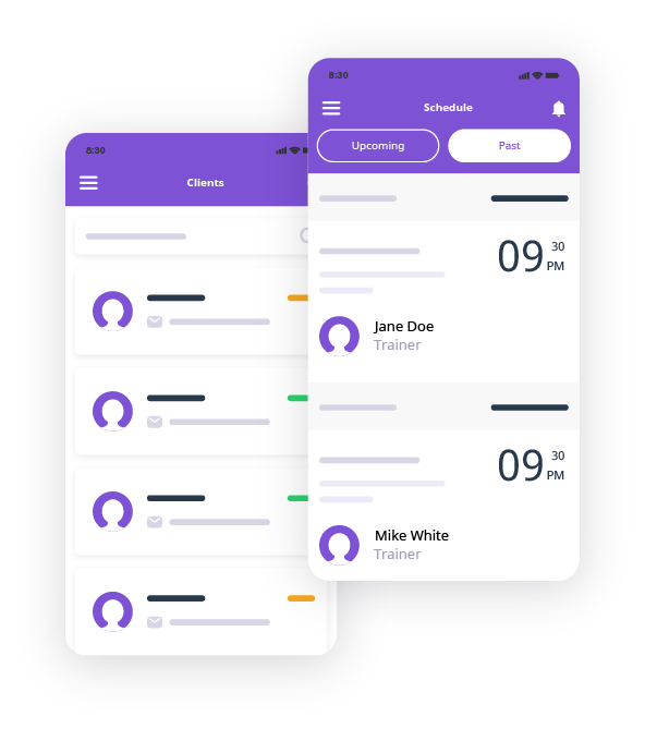 A graphic illustration showing the mobile mockups of the Omnify Go app.
