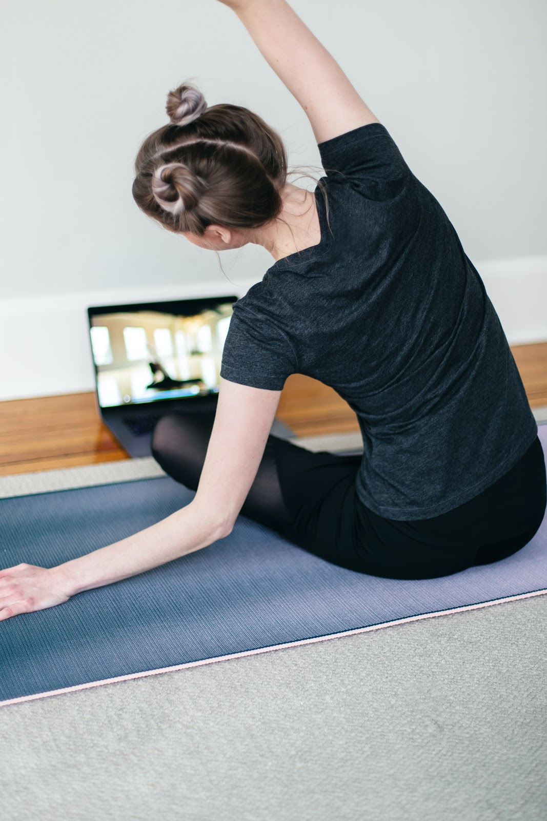 A trainer during a virtual fitness class