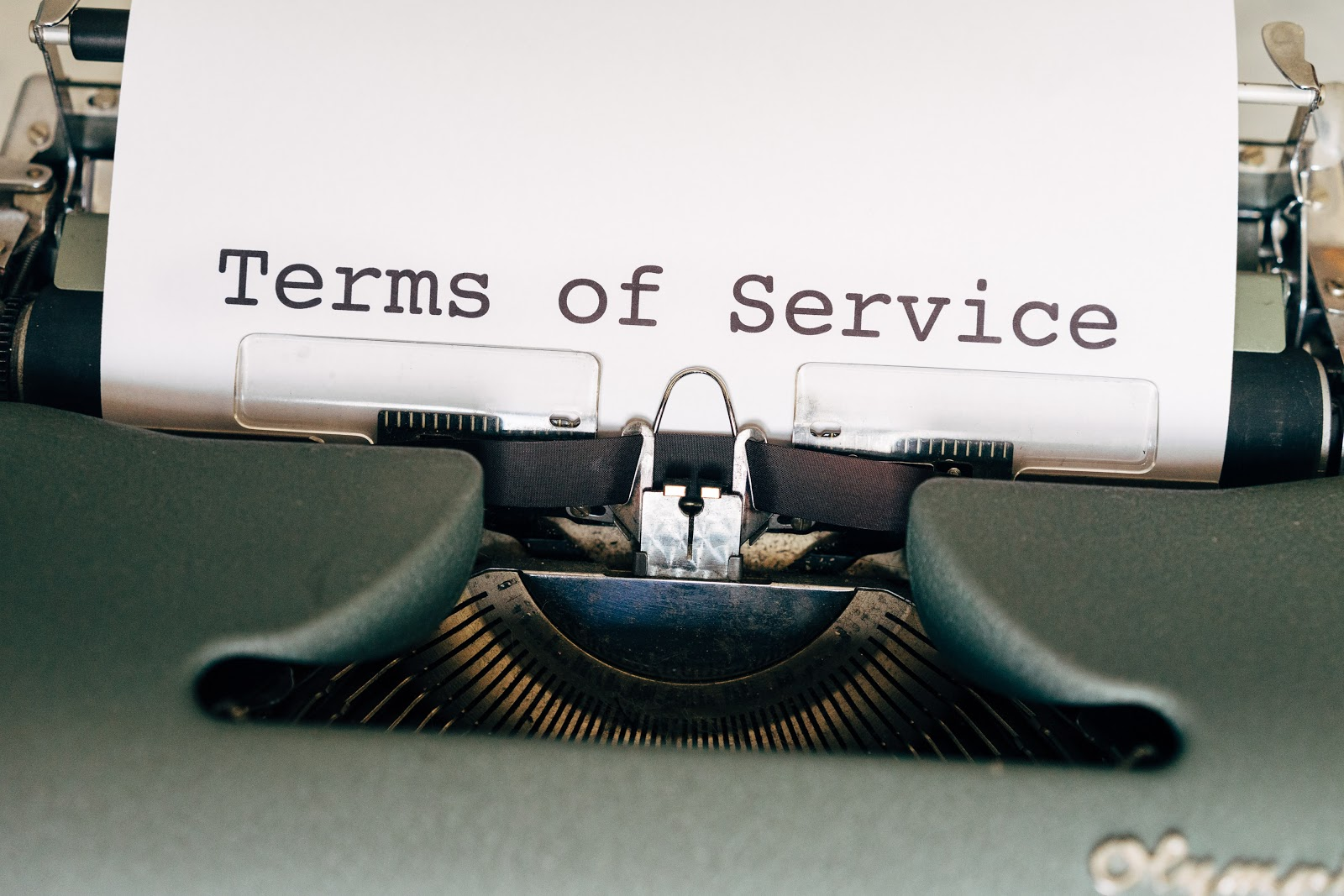 Digital waiver mentions the terms of service of a business