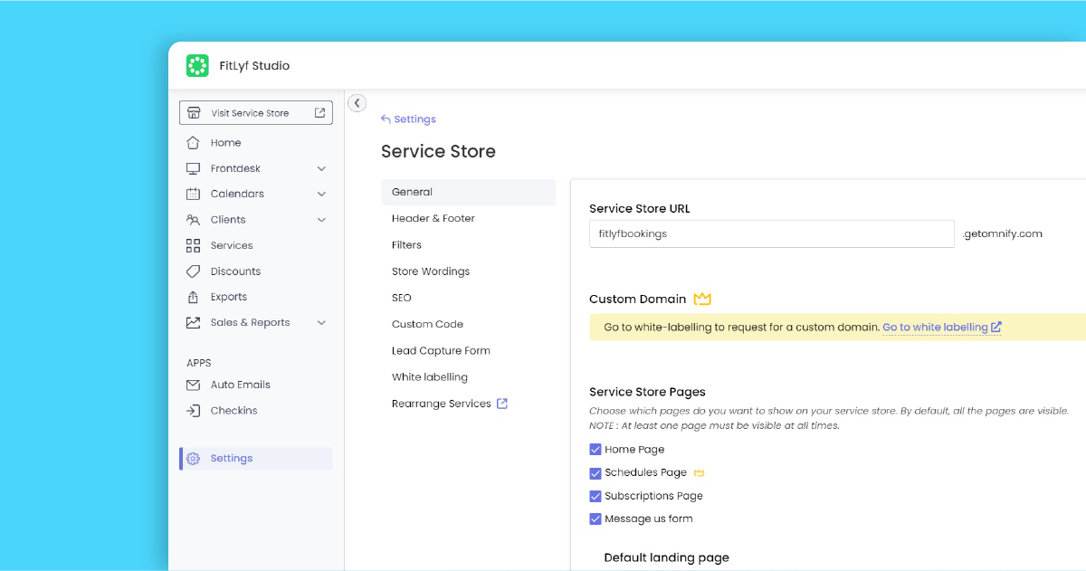 Personalize your booking site through Omnify's Service Store settings