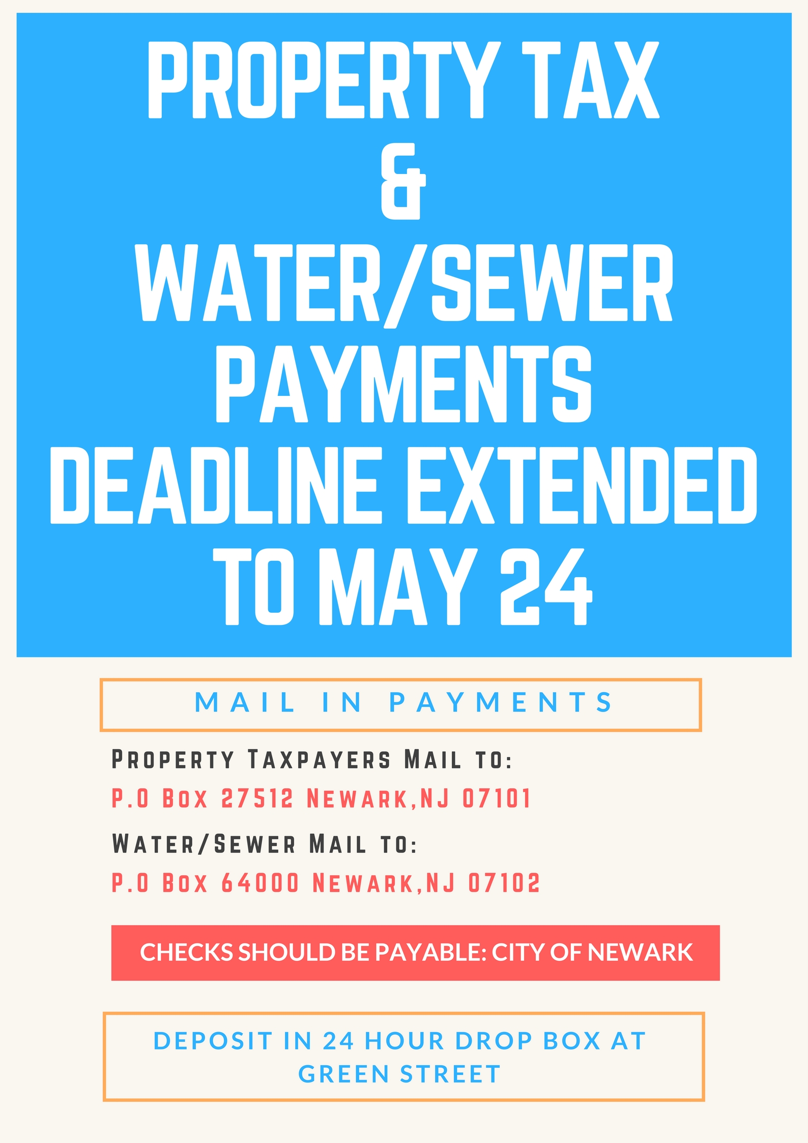News Property Tax And Watersewer Payments Deadline Extended To May 24