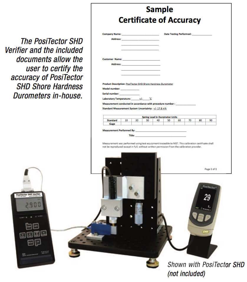 SHD-V sample certificate of accuracy