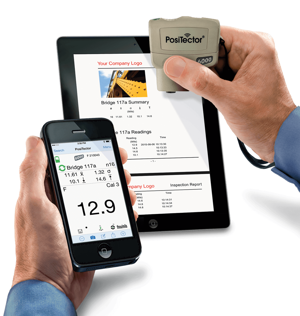 Photo of a tablet, smart phone, and the PosiTector SmartLink displaying the connectivity available between the devices
