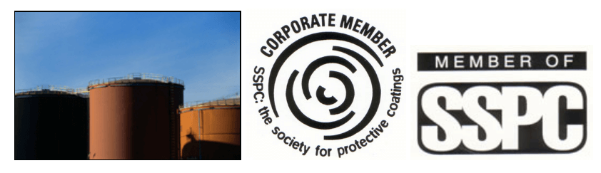 Image collage of SSPC membership logo as well as the corporate member logo. Large painted holding tanks as well.