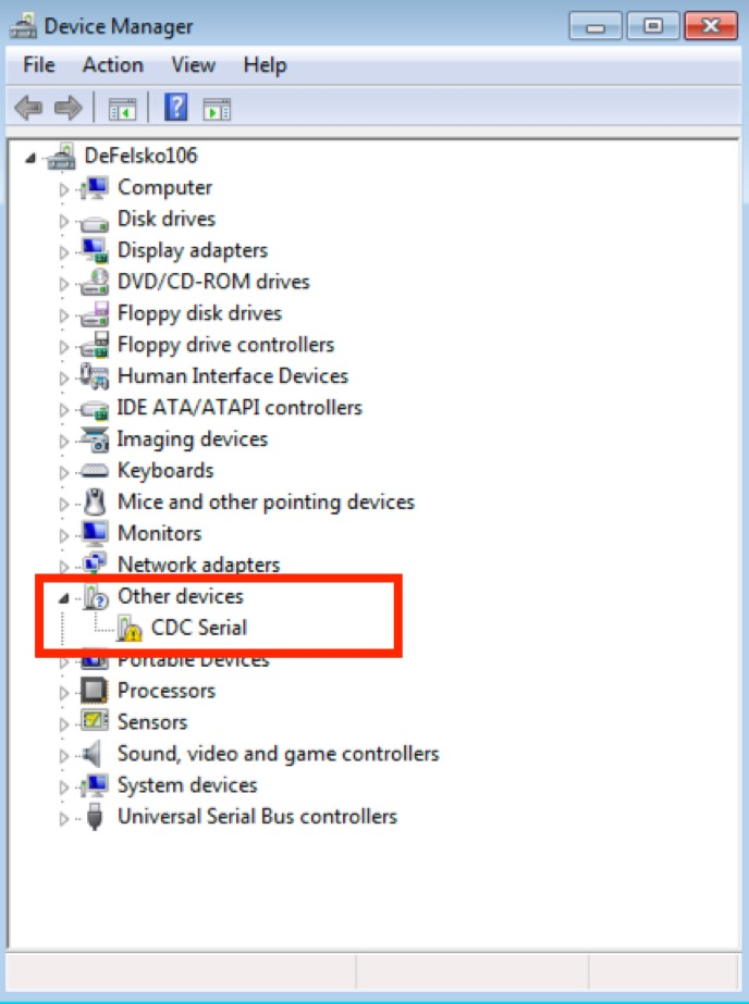 """Screenshot from a PC of the Device Manager. """"Other devices -> CDC Serial"""" is called out"""