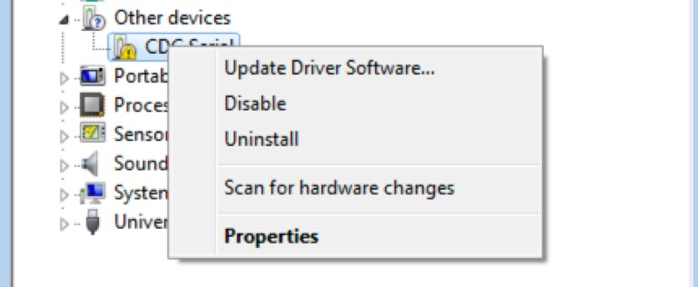 """Screenshot of right-clicking on the """"CDC Serial"""" option in the Device Manager settings"""