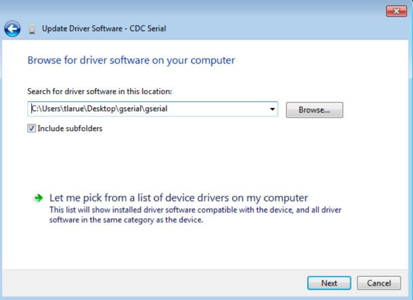 Screenshot from a PC showing 'Browse for driver software on your computer' dialogue box
