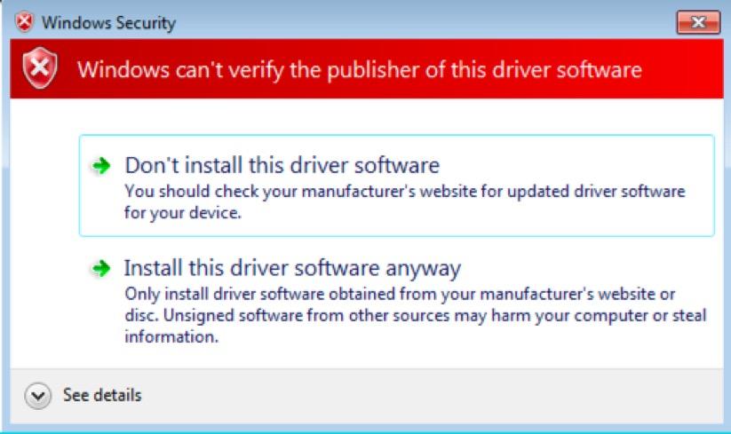 Screenshot of Windows Security error