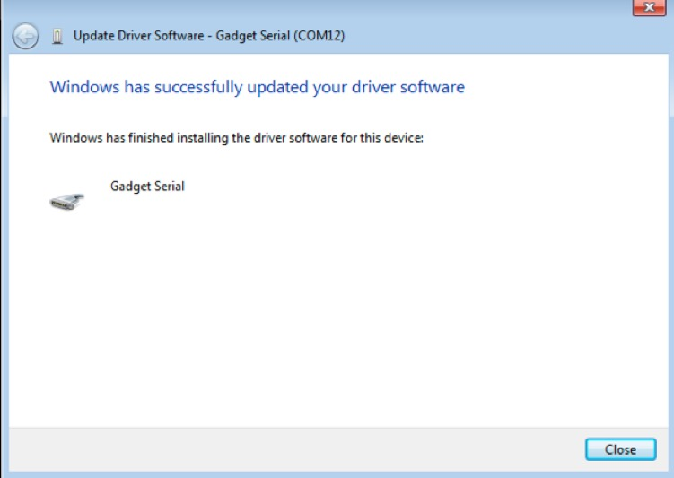 Screenshot of dialogue box showing that Windows has successfully updated the Gadget serial driver